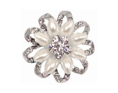 De Lujo Ronda Diamante /& Perla Broche para Floristry o boda Crafts