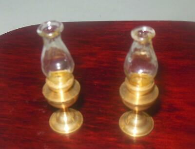 2 PCS BRASS HURRICANE LAMPS  BRASS #3799  DOLLHOUSE FURNITURE MINIATURES