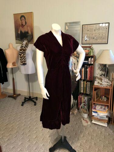 Dramatic 1930's Velvet Dress w/Smocking Shab Chi