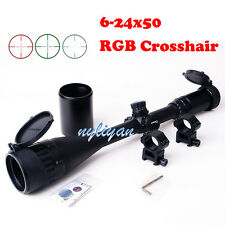 Illuminated 6-24x50mm RGB Mil-Dot Rifle Scope&20mm Rail Mounts&Sunshade 4 Hunt