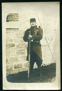 WW1-SOLDIER-RIFLE-FRENCH-ARMY-CORP-MILITARY-ANTIQUE-RPPC-PHOTO-POSTCARD