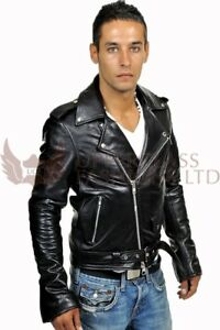 Clothing, Shoes & Accessories Special Section Men Genuine Black Leather Motorcycle Jacket Size 5 Xl