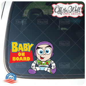Baby-BUZZ-Toy-Character-034-BABY-ON-BOARD-034-Sign-Vinyl-Sticker-for-Cars-Trucks