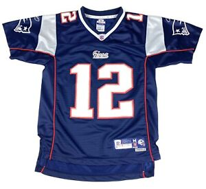 Reebok TOM BRADY #12 Patriots 7X SuperBowl Champ Blue Jersey YOUTH ...