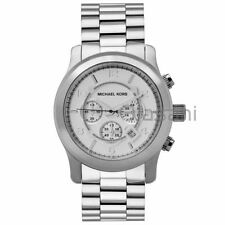 Michael Kors Original MK8086 Men's Runway Oversized Silver Watch 45mm Chronogr
