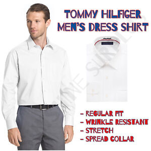 79be5ac2a37 Tommy Hilfiger Men s Regular Fit White Dress Shirt - Style Fashion ...