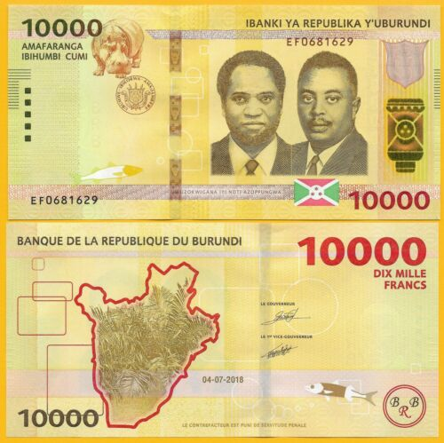 Francs p-new 2018//2019 new date /& features UNC Banknote 10,000 Burundi 10000