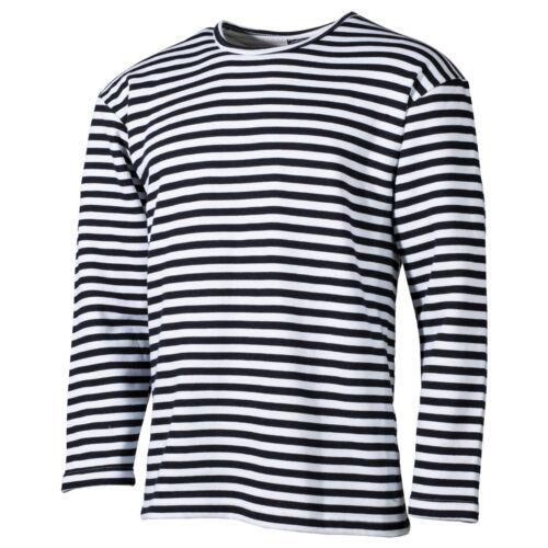 Marine russe à Manches Longues T Shirt bleu blanc rayures shirt