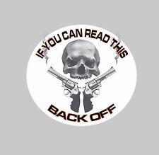 "BACK OFF SKULL WITH GUNS Graphic Decal 5.5"" Trucks Cars Vans Hotrod Biker"
