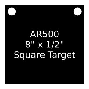 """One AR500 Steel Target Square 1//2/"""" x 8/"""" Painted Black Shooting Practice Range"""