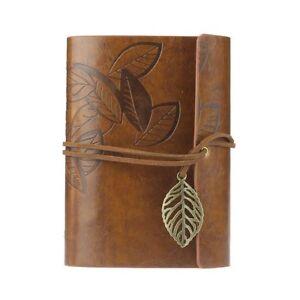 Vintage-Notizbuch-Tagebuch-Kunst-Leder-Buch-Heft-Reisetagebuch-Kladde-braun
