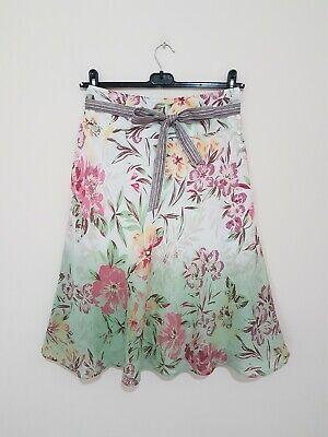Monsoon Pale Green Beige Pink Floral Lined Flare Knee Length Belted Skirt Uk 8 Entlastung Von Hitze Und Sonnenstich