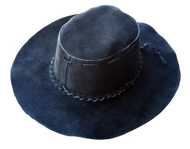 Black Suede Floppy Leather Hippie Hat