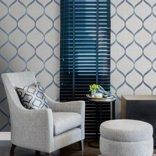 Gris et Bleu Géométrique Treillis papier peint par Poirier Studios UK21212