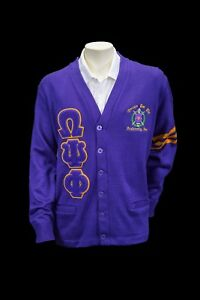 Omega Psi Phi Old School Cardigan Sweater Ebay