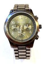 New Geneva Chronograph MK Style Link Watch Antique Silver Boyfriend Unisex