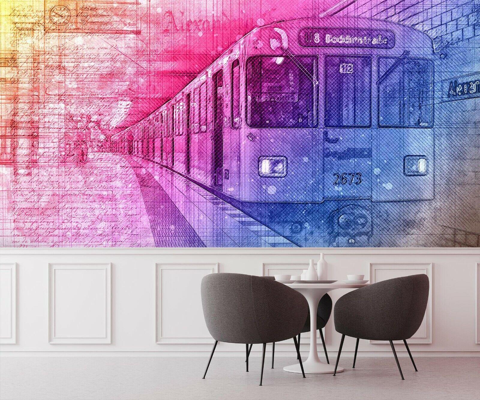 3D Train I64 Transport Wallpaper Mural Sefl-adhesive Removable Angelia