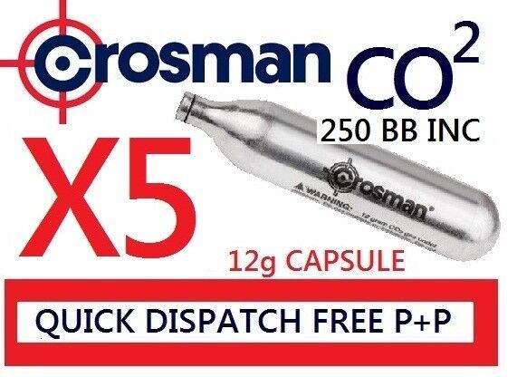 Crosman co2 X 5 12g Capsules CO2 Powerlet Cartridge Gas Air 250 ...