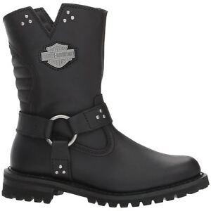 Details about Harley Davidson Barford Black Womens Leather Zip up Riding Biker Boots