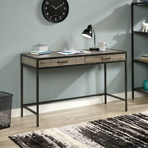 Rustic-Industrial-Writing-Computer-Desk-Drawers-Table-Gray-Oak-Home-Office-Study