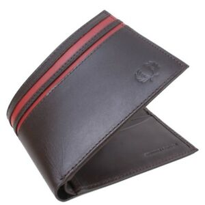 L8233-103 Angemessen Fred Perry Cut & Sew Tipped Billfold Wallet Chocolate