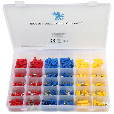 120PC Insulated Assorted Electrical Wire Terminal Crimp Connector Spade Box 4-20