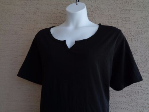 NEW Just  My Size Cotton Blend  S//S Notch Neck  Tee Top 1X  Black