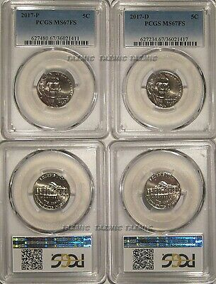 2017 P /& D Jefferson Nickel 2 Coin Set 5c PCGS MS66FS Full Steps
