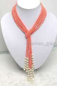 Long 70 inch Handmade Natural 6-7mm Pink Coral Necklace Fashion jewelry
