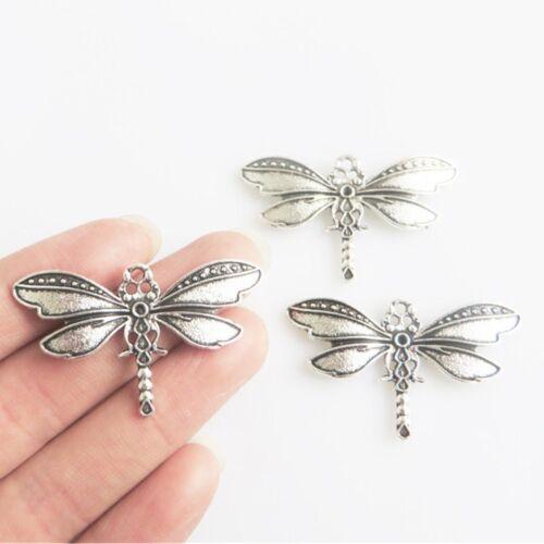 20pcs Argent Antique Dragonfly Charms Pendentifs À faire soi-même Jewelry Making Findings