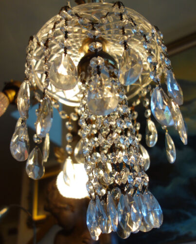 SWAG hanging Jelly Fish insp vintage Lamp Chandelier brass crystal glass