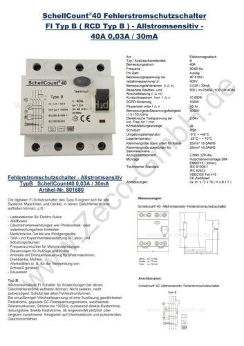 Fi Schutzschalter RCD E-Auto Wallbox Typ B 40A 30mA Allstromsensitiv Typ A-EV