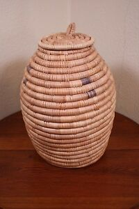 Details about A Bee Hive Coiled Basket XL Vtg Grass Wicker Woven Snake  Charmer Lidded Urn Jar