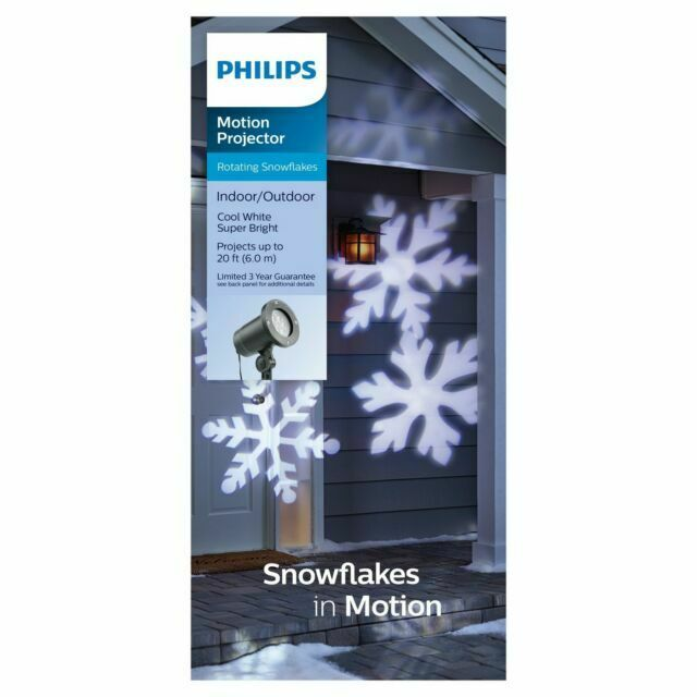 LED Rotating White Snowflakes Indoor//Outdoor Christmas Holiday Light Projector Philips