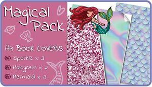 Magical A4 School Book Covers - 6 pack Slip-On Mermaid School Book Jackets
