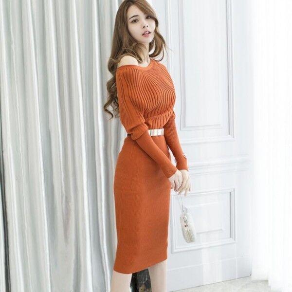 Elegante vestito abito abito abito corto arancione slim scollo tubino maniche lunghe  3929 0b056b