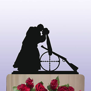 Details About Acrylic Shooting Lovers Theme Bride Groom Wedding Cake Topper Decoration Gift