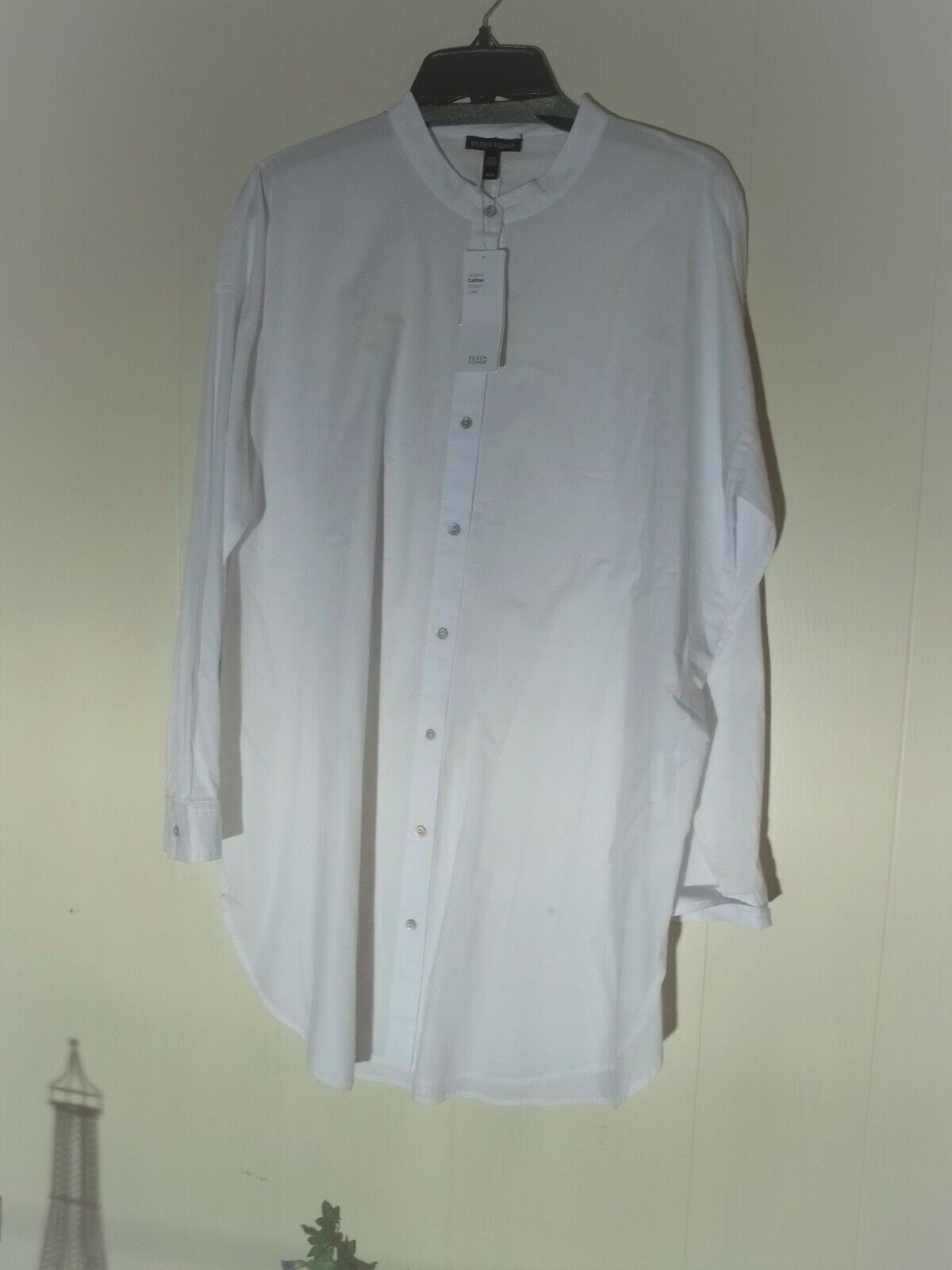 Sz M Eileen Fisher Weiß organic cotton stretch lawn top shirt NEW NWT