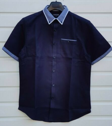 Men`s New Debenhams Pure Cotton Short Sleeve Button Down Shirt Sizes S to 3XL