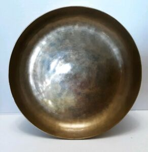 Vintage-Brass-Hammered-11-034-Shallow-bowl-Heavy