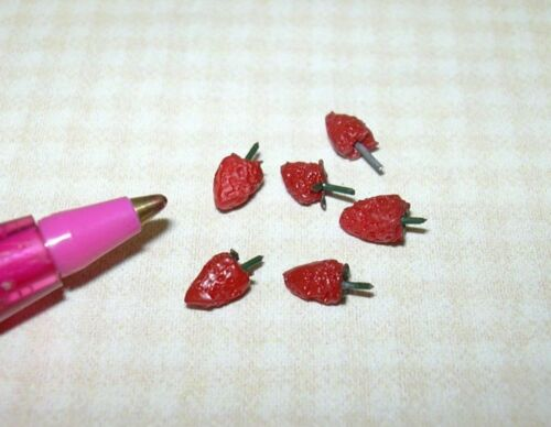 Set of 6 DOLLHOUSE 1:12 Miniature Excellent Falcon Loose Strawberries,