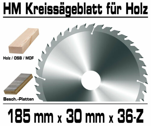 Holz HM Kreis Sägeblatt Für Hand Kreissäge Kappsäge Ø 185mm x 30mm x 36 Zahn GPH