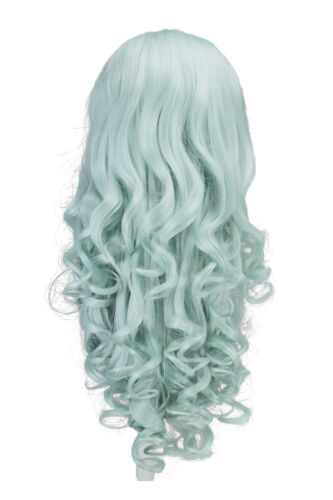 26/'/' Curly Layered with Short Bangs Mint Green Wig NEW