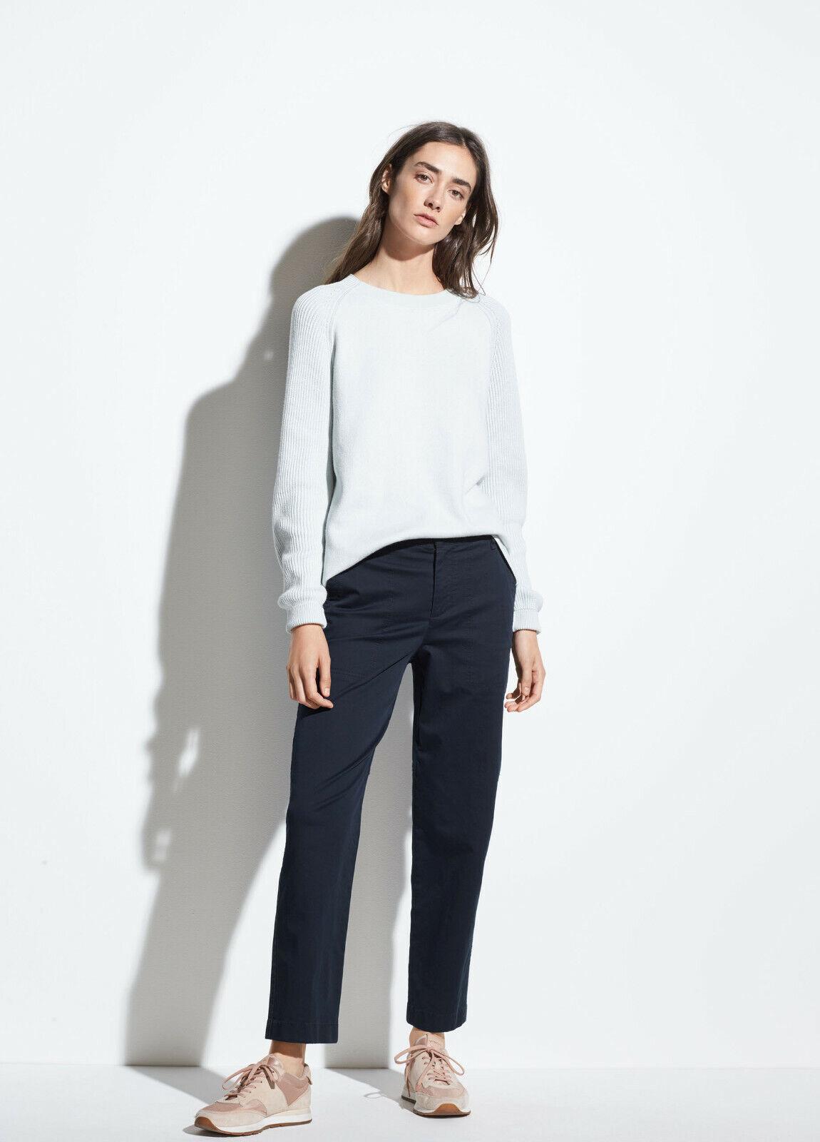 Neuf Avec étiquettes VINCE Lavé Stretch pour pantalon de coton Blau marine Coastal Größe 14 Ret  245
