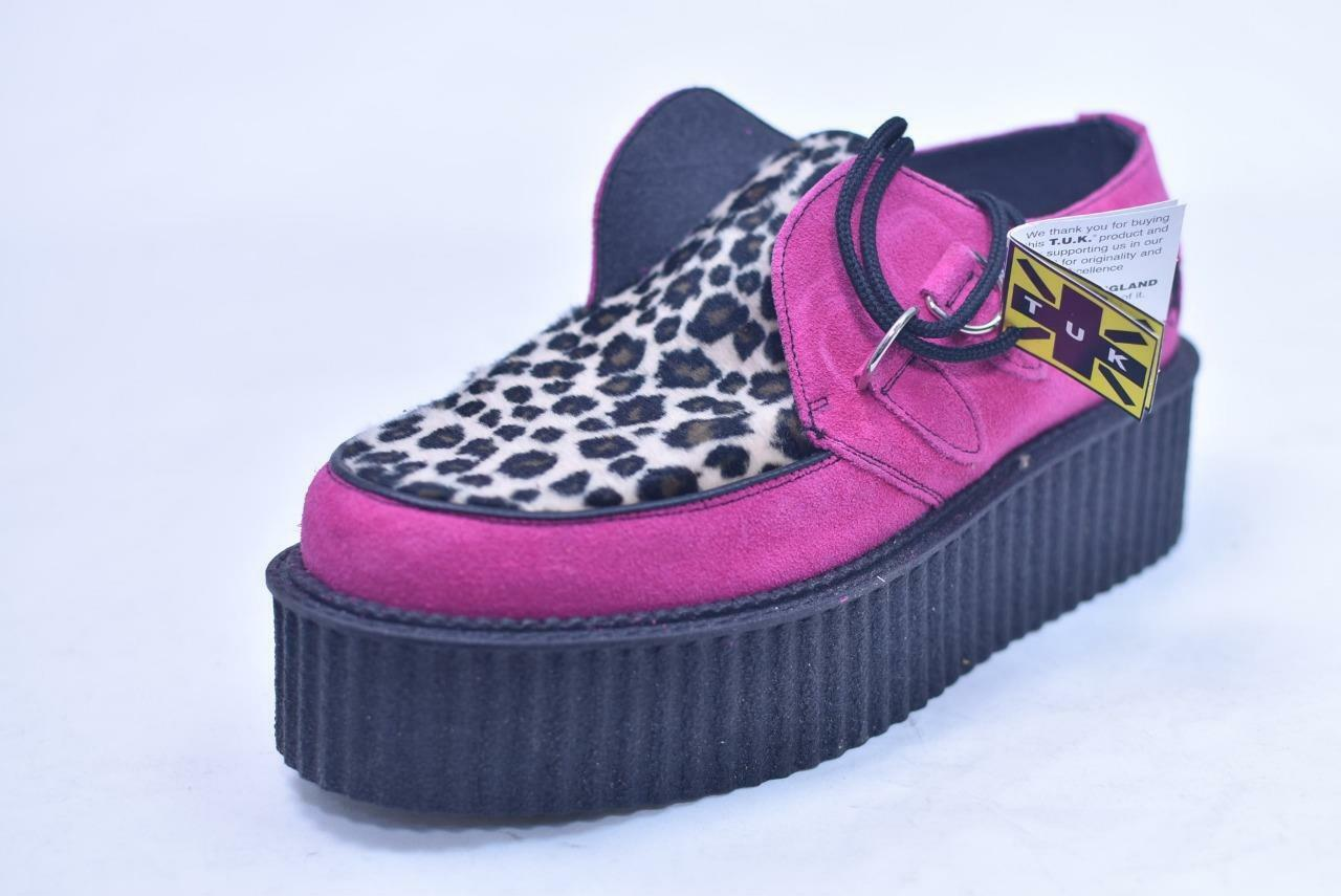 TUK MIE UK MADE 2  TALL 2 EYE LEOPARD PINK STAR ROCKABILLY CREEPERS UNISEX 4 6