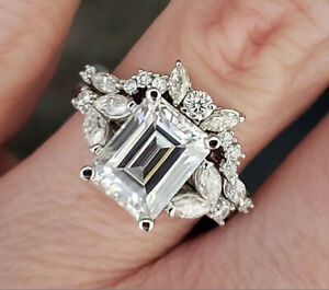 4-28ct-Emerald-cut-Engagement-Wedding-Band-Diamond-Ring-Solid-14k-white-Gold