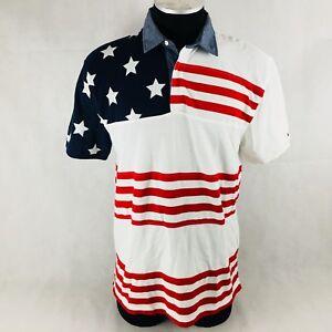 documental luces Fundador  Tommy Hilfiger USA American Flag Custom Fit Polo White Red Blue Mens Size  XL | eBay