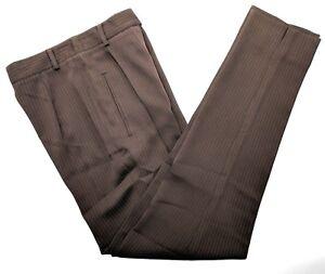 Garfield-amp-Marks-Alex-Garfield-Womens-Pants-Sz-0-Brown-Pleated-Pinstripe-121006