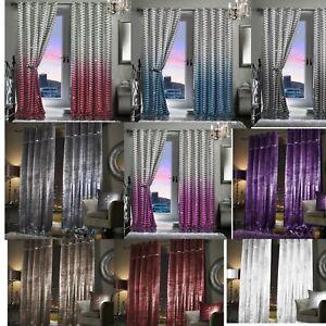 Luxury-Faux-VELVET-Completamente-Foderate-Con-Occhielli-Paloma-BAHIA-camera-da-letto-salotto-Tende