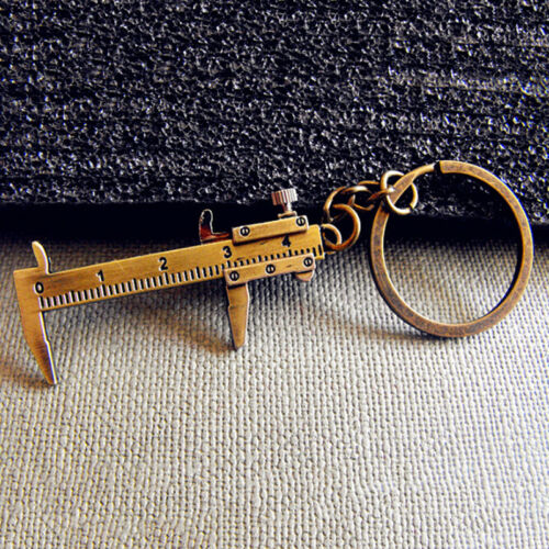 Portable Mini Vernier Caliper Model Pendant Key Ring Movable Measure Keychain LD